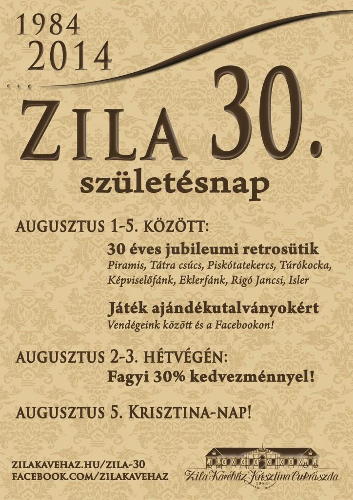 30 éves Zila Kávéház plakát