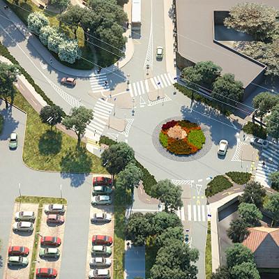 Látványterv a Baross utca és a Margó Tivadar utca kereszteződésében épülő körforgalomról